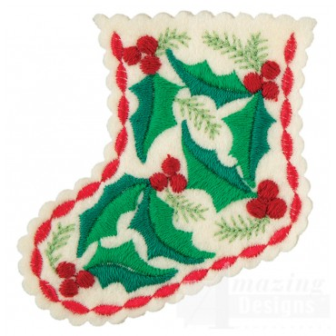Holly Stocking Ornament Embroidery Design