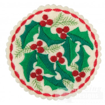 Holly Circle Ornament Embroidery Design
