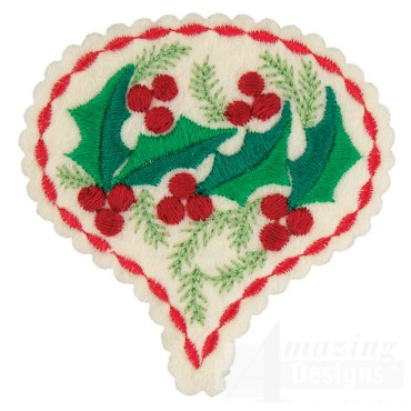 Holly Teardrop Ornament Embroidery Design