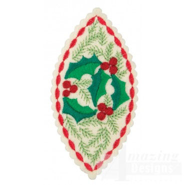 Holly Teardrop 2 Ornament Embroidery Design