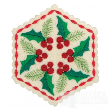 Holly Hexagon Ornament Embroidery Design