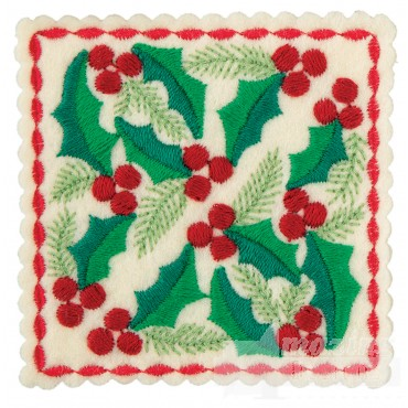 Holly Square 2 Ornament Embroidery Design