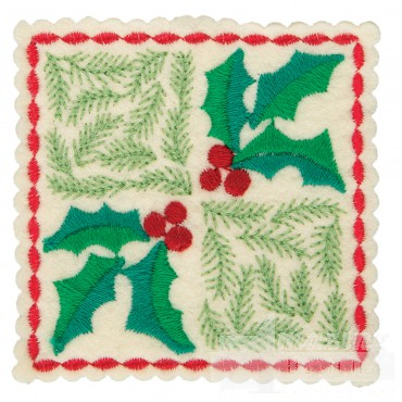 Holly Checkered Square Ornament Embroidery Design
