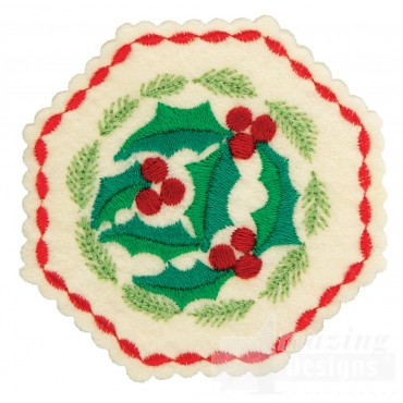 Holly Hexagon 2 Ornament Embroidery Design