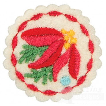Small Poinsettia Circle Ornament Embroidery Design