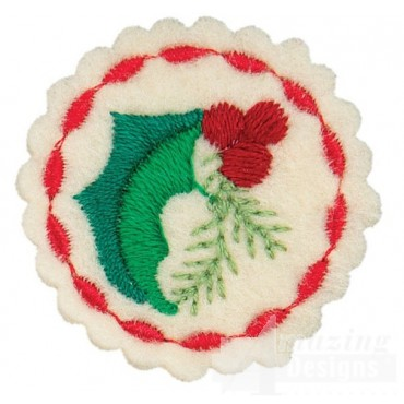 Small Holly Circle Ornament Embroidery Design
