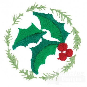 Holly Circle Embroidery Design