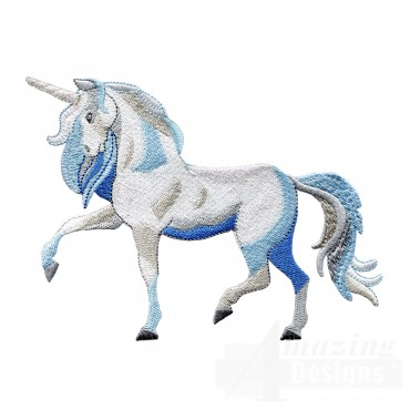 Side Profile Blue Unicorn Embroidey Design