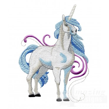 Magestic Blue Unicorn Embroidey Design
