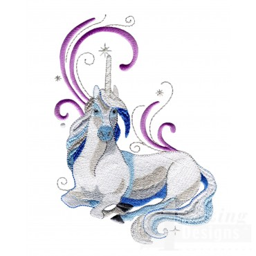 Magical Blue Unicorn Embroidey Design