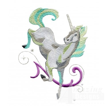 Dancing Teal Unicorn Embroidey Design