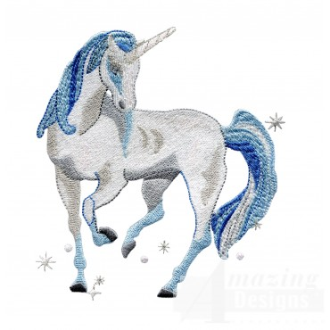 Wise Blue Unicorn Embroidey Design