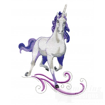 Prancing Purple Unicorn Embroidey Design