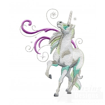 Star Gazing Teal Unicorn Embroidey Design