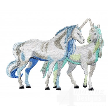 Calm Unicorn Pair Embroidey Design