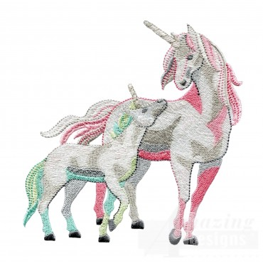 Magical Unicorn And Colt Embroidey Design
