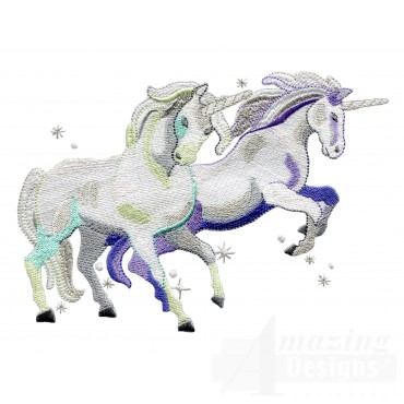 Charging Magical Unicorn Pair Embroidey Design