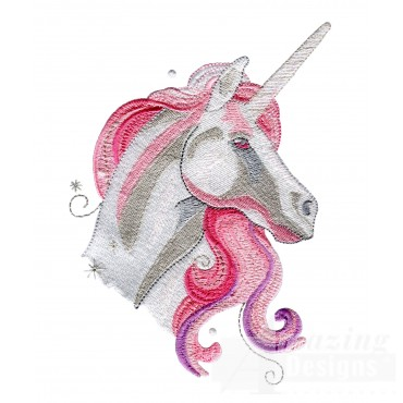 Pink Unicorn Portrait Embroidey Design