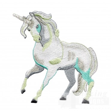 Magestic Teal Unicorn Embroidey Design