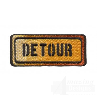 Detour Sign Embroidery Design