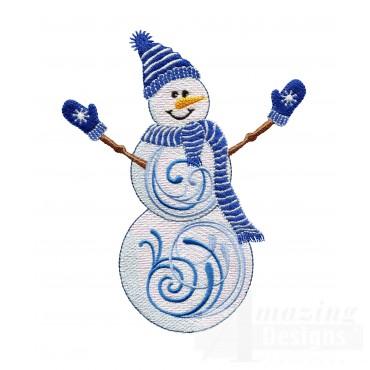 Iridescent Snowman 1 Embroidery Design