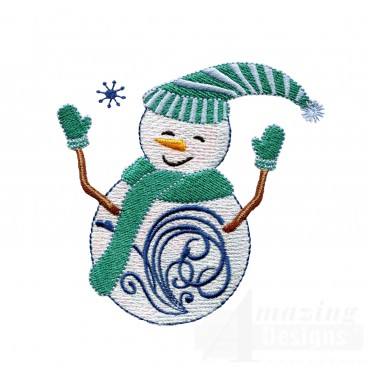 Iridescent Snowman 4 Embroidery Design