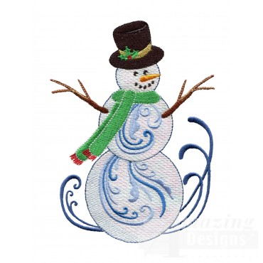 Iridescent Snowman 5 Embroidery Design
