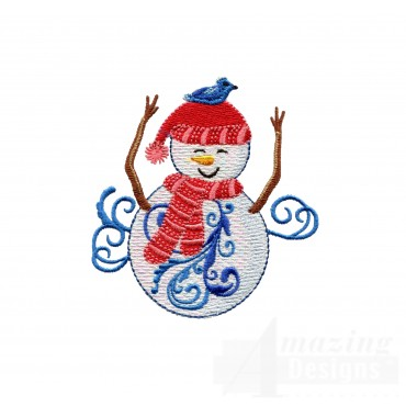 Iridescent Snowman 9 Embroidery Design