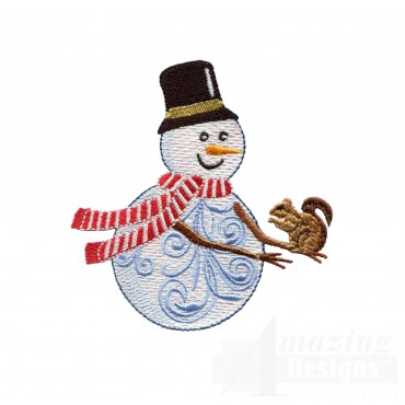 Iridescent Snowman 10 Embroidery Design