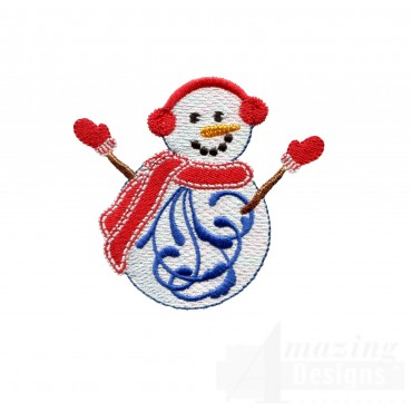 Iridescent Snowman 11 Embroidery Design