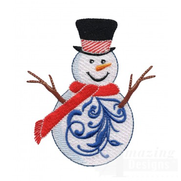 Iridescent Snowman 13 Embroidery Design