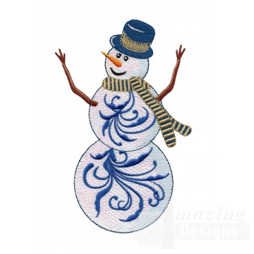 Iridescent Snowman 18 Embroidery Design