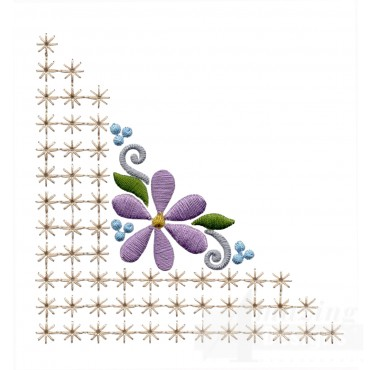 Flowering Eyelet Corner 2 Embroidery Design