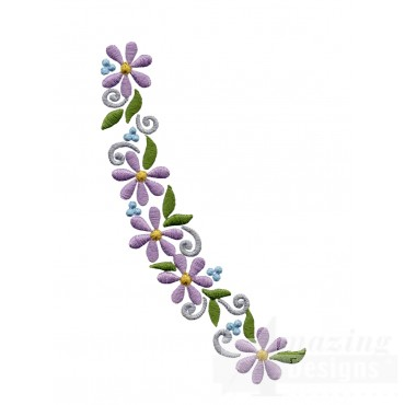Flowering Eyelet Curve 1 Embroidery Design