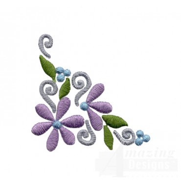 Flowering Eyelet Flower Corner Embroidery Design