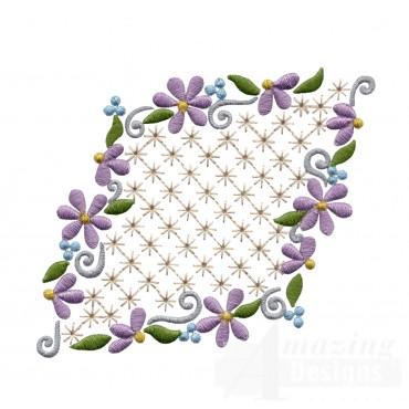 Flowering Eyelet Diamond Embroidery Design