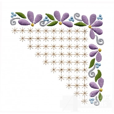 Flowering Eyelet Corner 4 Embroidery Design