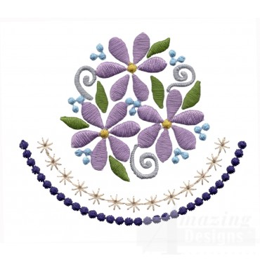 Flowering Eyelet Circle Border Embroidery Design
