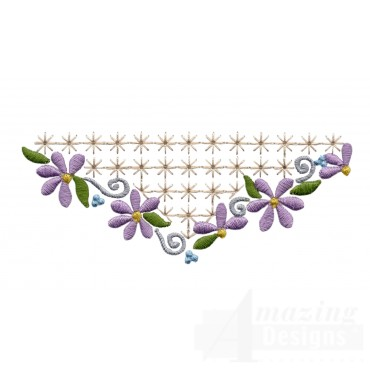 Flowering Eyelet Half Diamond Embroidery Design