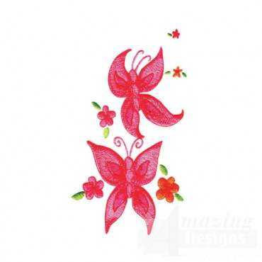 Pink Butterflies with Flowers