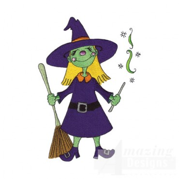 Witch with Broomstick and Wand