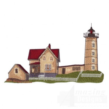 Tan Lighthouse with House