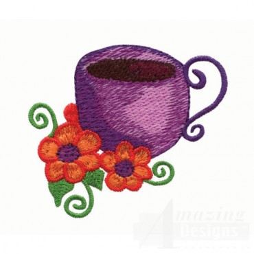 Purple Teacup and Flowers