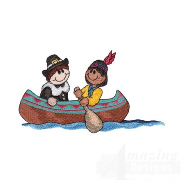 Indian and Pilgrim in a Canoe