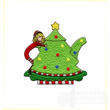 Christmas Teapot Embroidery Design
