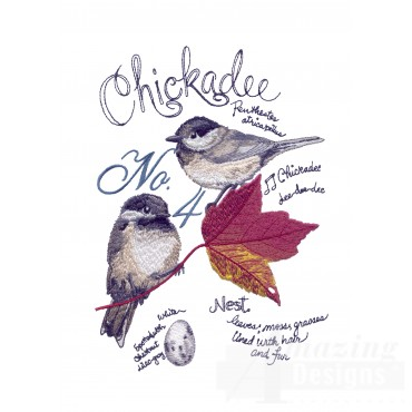Bird202 Chickadee Bird Study Embroidery Design