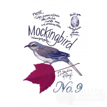 Bird206 Mockingbird Bird Study Embroidery Design