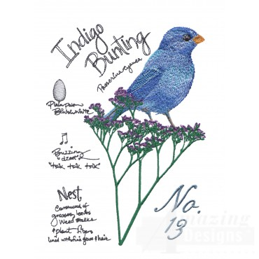 Bird223 Indigo Bunting Bird Embroidery Design