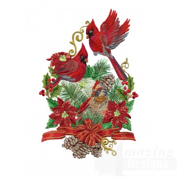 Swnrcc136 Regal Cardinal Embroidery Design