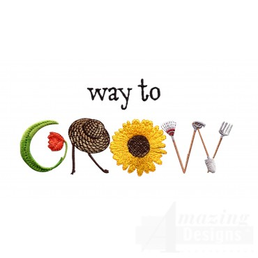 Way To Grow Embroidery Design